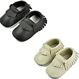 DADAWEN Baby Moccasins Genuine Leather Slip On Shoes Black and Beige M (6-12 Month)