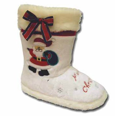 New Ladies Coolers Branded SANTA CLAUS Christmas Faux Fur Lined Slipper Snugg Boot 295. To Fit UK Adult Sizes 3-4 / 5-6 / 7-8