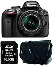 Nikon D3300 SLR-Digitalkamera (24 Megapixel, 7,6 cm (3 Zoll) TFT-LCD-Display, Live View, Full-HD) Amazon-Kit inkl. 18-55mm VR II Objektiv/16GB SDHC-Speicherkarte/Kameratasche schwarz