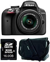 Nikon D3300 SLR-Digitalkamera (24 Megapixel, 7,6 cm (3 Zoll) TFT-LCD-Display, Live View, Full-HD) Amazon-Kit inkl. 18-55mm VR II Objektiv/16GB SDHC-Speicherkarte/Kameratasche schwarz