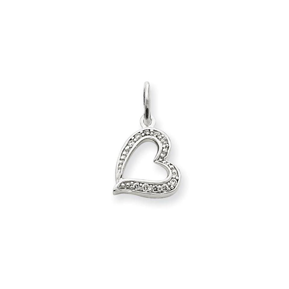 14k Gold White Gold Diamond Heart Charm Real Goldia Designer Perfect Jewelry Gift