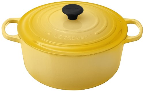 Le Creuset Signature Soleil Yellow Enameled Cast Iron Round French Oven, 7.25 Quart