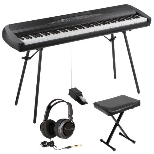 Korg Sp280Bk 88-Key Digital Piano With Speaker With X-Style Keyboard Bench And Full-Size Stereo Headphones (Black)