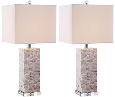 Safavieh Lighting Collection Homer Ivory Shell 25.5-inch Table Lamp (Set of 2)