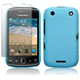BLACKBERRY CURVE 9380 BAby Blue TEXTURED PU LEATHER BACK COVER CASE / SHELL / SHIELD + SCREEN PROTECTOR PART OF THE QUBITS ACCESSORIES RANGEby Qubits
