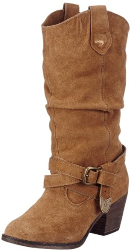 Rocket Dog Women's Sidestep Chestnut Suede Mid-Calf Western Boot 6 UK