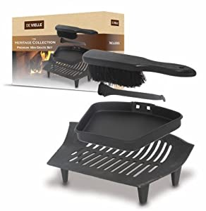 "DeVielle 16"" Black Fireplace Set Fire Cast Iron Grate Ash Pan Banister Brush by De Vielle"