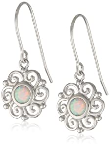 Sterling Silver Created Opal Celtic Round Drop Earrings
