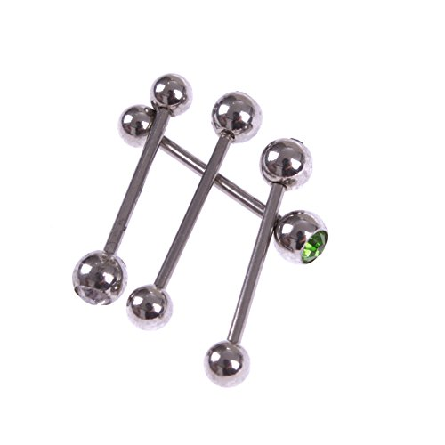 Surker 4Pcs Tongue Bars Rings Barbell Piercing Crystal Stainless Steel Body Jewelry Bj00180J(4)