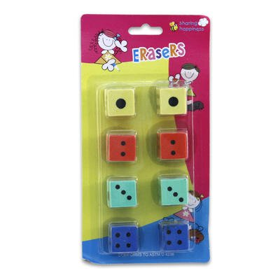 8pk Assorted Color Dice-shaped Erasers