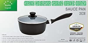 2.2 Quart Sauce Pan with Non-stick German Weilburger Ceramic Coating by Healthy Legend - Induction Cooktop Ready, ECO Friendly Non-toxic Cookware