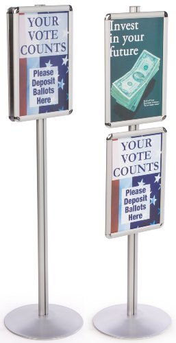 Displays2go Display Stands 14 x 55-1/2 x 14 Inches Silver Finish Aluminum Snap Open Poster Holders (QCRND17X2)
