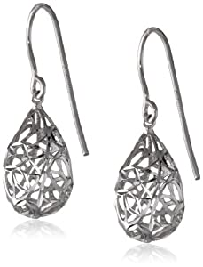Sterling Silver Pear Dangle Earrings Filigree Rhodium plated