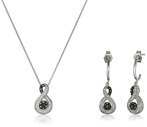 Sterling Silver Diamond Infinity Pendant/Necklace and Earrings Box Set (1/4 cttw)