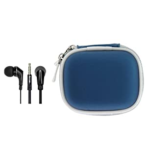 iKross In-Ear 3.5mm Noise-Isolation Stereo Earphones With Handsfree Microphone Headset (Black / Black) + Blue Carrying Storage Eva Case for Acer ICONIA B1-A71, ICONIA W510, ICONIA W700; Tablet Cellphone Smartphone and Mp3 player
