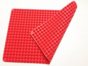 Zappbo - Non Stick Raised Cone Shaped Silicone Baking, Roasting Mats and Pans 16 1/3 inches X 11 2/9 inches, 41.5 cm X 28.5 cm, Red