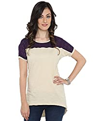 Bedazzle Casual Off White With Purple Net Women's Top