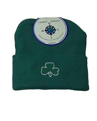 Irish Shamrock Baby Knit Cap Cotton Blend Newborn