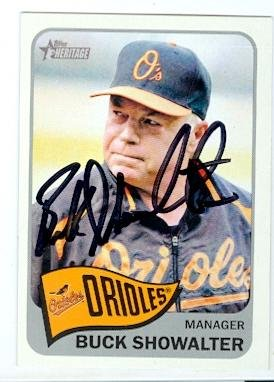 Buck Showalter autographed baseball card (Baltimore Orioles) 2014 Topps Heritage #323