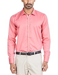 Zovi Men Cotton Slim Fit Dark Pink Solid Formal Shirt  Full Sleeves