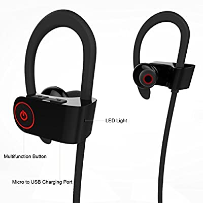 Augymer Sports Sweatproof Bluetooth Headphones, Professional Wireless Earphones With Mic Noise Cancelling For Running Exercise Hiking Suitable For IOS Android