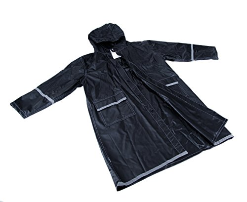 Suvelle Toddler Kids Teens Boys Girls Raincoat Poncho Water-Repellent Reflective (Medium 7-8, Black)