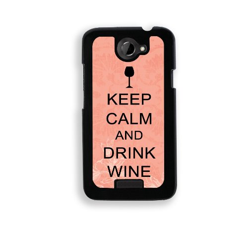 Keep Calm And Drink - Wine - Coral Floral - Protective Designer Black Case - Fits Htc One X / One X+ front-34602
