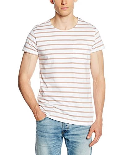 SELECTED HOMME Camiseta Manga Corta Blanco / Camel