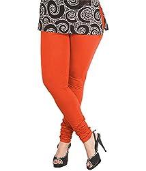 Ceil Women's Soft Cotton Leggings (LL 1008_Orange_Free Size)