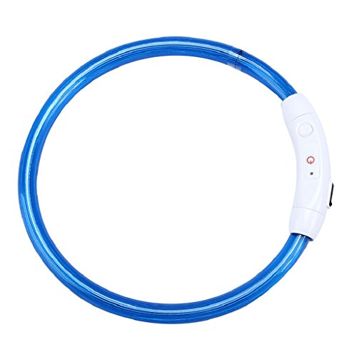 Ularma Collar de perro, USB recargable impermeable LED parpadea luz Collar del animal doméstico (azul)