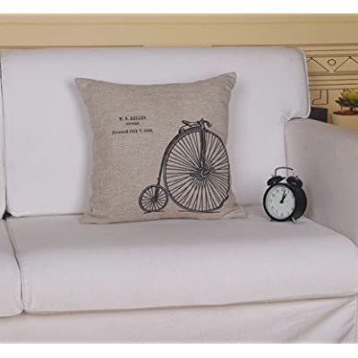 Antique Bike Cotton Linen Pillow Cover- Cushion Cover-throw Pillow Cover
