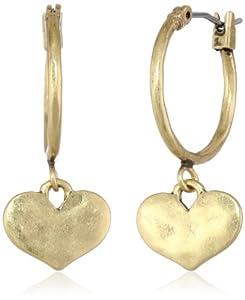 """Lucky Brand """"Lovely"""" Heart Hoop Earrings"""