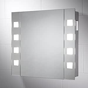 pyrus illuminated cabinet bathroom mirror with lights 650mm w x 600mm