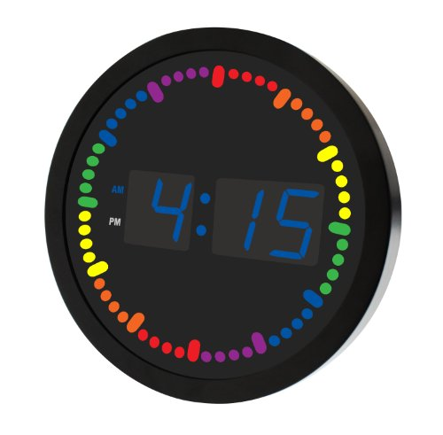 Big Digital LED Clock with Rainbow Color Circling LED second indicator - Round Shape (10 / multi color) (5 Second Color Indicator, Blue)