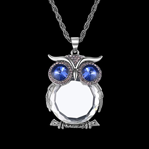BABEYOND® Antique Vintage Retro Adorable Cute Jewelry Rhinestone Full Body Gem Owl Long Necklace Blue (white)