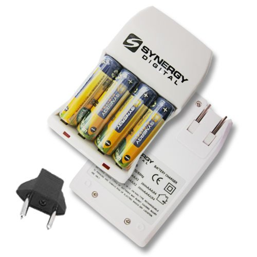 Synergy AA and AAA NiMH Rapid Battery Charger - Includes 4-pack of 2800mAh Rechargeable AA Ni-MH Batteries - 110/220v