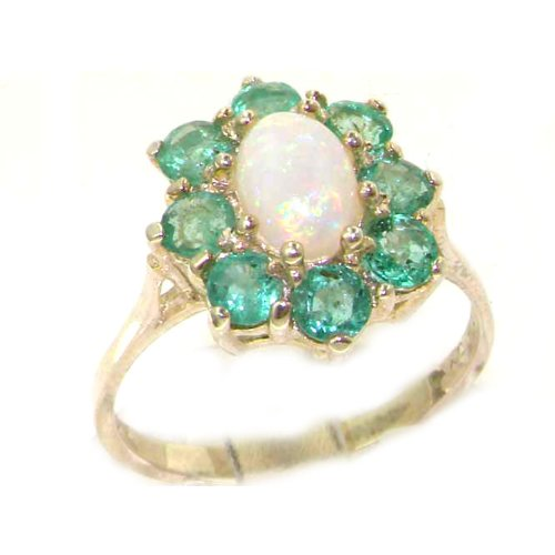 Luxury Ladies Solid White Gold Natural Opal & Emerald Cluster Ring - Size 8.75 - Finger Sizes 5 to 12 Available