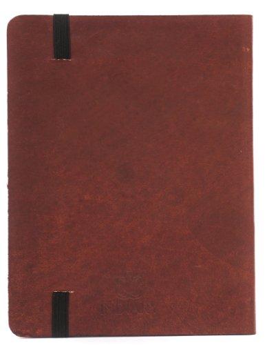 INDIARY PRIMELINE Luxusnotizbuch aus echtem Leder und handgeschöpftem Papier DIN A6 - Braun