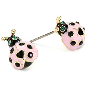 "Betsey Johnson ""Hawaii Luau"" Ladybug Stud Earrings"
