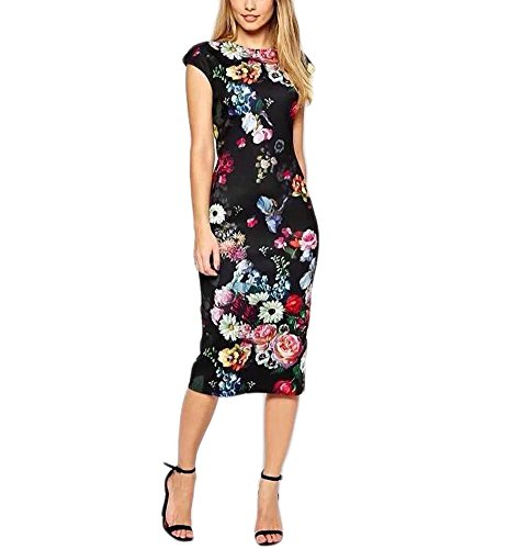 Women's Retro Pattern Print Sleeveless Midi Party Work Black Pencil Dress