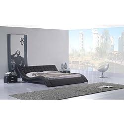 Polsterbett, Kunstlederbett R0B 160x200 cm Schwarz aus hochwertigem Kunstleder