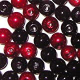 100 pieces 8mm Glass Pearl Beads - Black and Red Mix - A1031