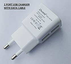 Mobile Charger Compatible with Lava Iris X5 4G Charger 2 USB Port With USB Data Cable