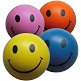 4 x Stress Ball Mixed Colour by StressCHECK - Yellow, Pink, Blue and Orange Squeezy Balls - Stress Balls for ADHD and Autism