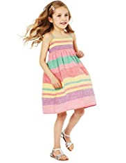 Pure Cotton Striped Dress