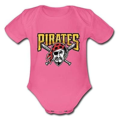 Cutie Custom Pittsburgh Pirates Logo Unisex Baby Powder Organic Short Sleeve Hotpink