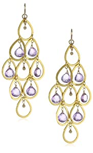 Devon Leigh Amethyst Gold-Fill Ball Vermeil Chandelier Earrings