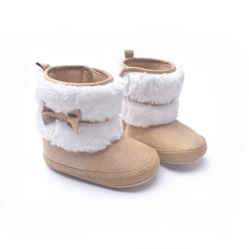 LIVEBOX Baby Girls' Premium Soft Sole Bow Anti-Slip Mid Calf Warm Winter Infant Prewalker Toddler Snow Boots (L: 12~18 months, Khaki)