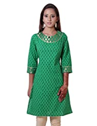 G2M Fashions Green Anarkali Printed Designer Cotton Kurti - B00OJ32B6U