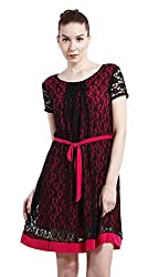 Peptrends Women's A-Line Dress (DR150189MG, Black and Pink, Medium)